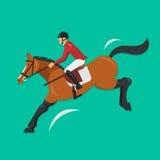 Visa banhoppninghästen med jockeyn, rid- sport Royaltyfri Fotografi