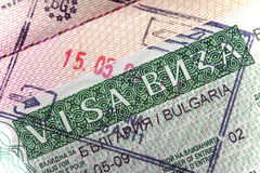 Visa of Bulgaria on the page of the passport, Stock Images