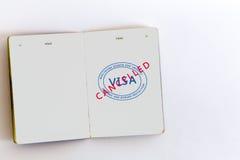 Visa cancelled stamp in passport. Visa cancelled customs stamps in passport, original design  elements Royalty Free Stock Photos
