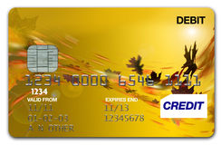 Visa Card Autumn / fall. Plastic Autumn/fall Visa Card on white background Stock Photos