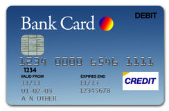 Visa Card Blue. Plastic Blue Visa Card on white background Royalty Free Stock Photography