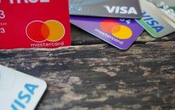Visa card and Master card stock image