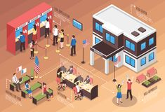 Visa Center Composition. With interview and people waiting isometric vector illustration Royalty Free Stock Images