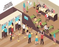 Visa Center Illustration. Visa center interior with people in waiting hall isometric vector illustration vector illustration
