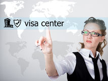 Visa center written on a virtual screen. Internet technologies in business and tourism. woman in business suit and tie Stock Images