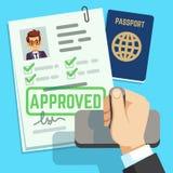 Visa concept. Passport or visa application. Travel immigration stamp vector illustration royalty free illustration