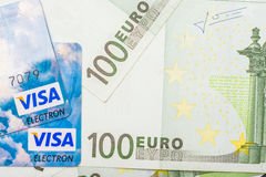 Visa Credit Cards And Euro Banknotes Royalty Free Stock Photos