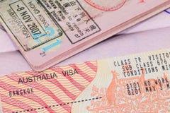 Visa d'Australie dans le passeport Photographie stock