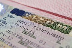 Visa dans le passeport Photo libre de droits