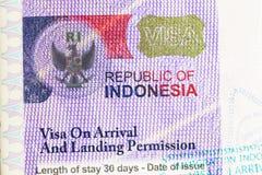 Visa de Indonesia fotos de archivo