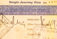 Visa de Kenia fotografía de archivo libre de regalías