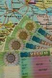 VISA de Schengen sur la carte de l'Allemagne photographie stock libre de droits