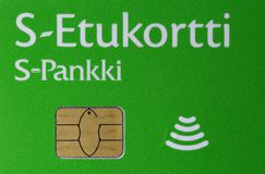 Visa Debit Card by S-Pankki, Closeup. Closeup of a Visa debit card. Green colored credit card offered by Finnish cooperative S-Pankki. Photographed in Kuopio stock images