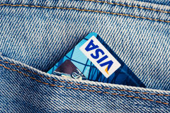 Visa Debit Cards in blue denim jeans pocket. Royalty Free Stock Images