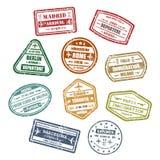 Visa del viaje o del viaje o muestras del pasaporte Imágenes de archivo libres de regalías