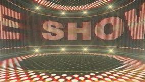 Visa den Tid textanimeringen i bildskärmen, dansrum, tolkningen, bakgrund, öglan, 4k stock video