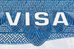 Visa document logo close up of the United States of America.  Royalty Free Stock Photos