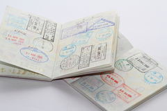 Visa en pasaporte foto de archivo