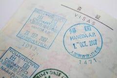 Visa en pasaporte imagen de archivo libre de regalías