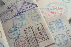 Visa en pasaporte imagen de archivo