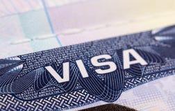 Visa en pasaporte Fotografía de archivo libre de regalías