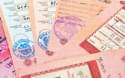Visa entry and exit stamps Royalty Free Stock Photo