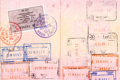 Visa et estampilles de passeport Photo stock