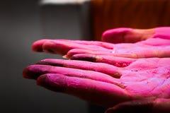 Visa för dam colured för att gömma i handflatan under holifestival i Indien royaltyfria bilder