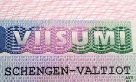 Visa finlandesa de Schengen en el pasaporte Fotografía de archivo libre de regalías