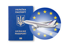 Visa-free regime between Ukraine and the European Union - concept. Stock Image