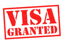 VISA GRANTED. Red Rubber Stamp over a white background Royalty Free Stock Photo
