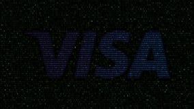 Visa Inc. logo made of flashing hexadecimal symbols on computer screen. Editorial 3D rendering. Visa Inc. logo made of flashing hexadecimal symbols on computer stock video