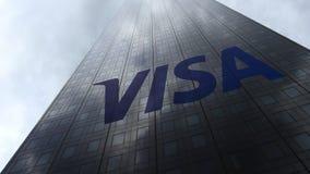 Visa Inc logo sur les nuages se reflétants d'une façade de gratte-ciel Rendu 3D éditorial Photo libre de droits
