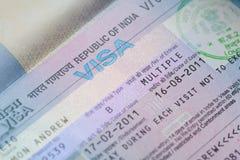 Visa indien d'affaires Images stock