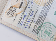 Visa indien d'affaires Photos libres de droits