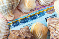 The visa of Indonesia and sea shells Royalty Free Stock Image