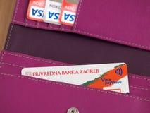 Visa Inspire card. ZAGREB, CROATIA - MARCH 2, 2015: Photo of Visa Inspire card and other Visa cards in wallet. Visa Inspire is debit card from Privredna banka stock images