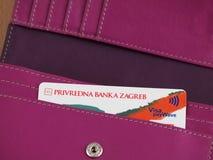 Visa Inspire card. ZAGREB, CROATIA - MARCH 2, 2015: Photo of Visa Inspire card in wallet. Visa Inspire is debit card from Privredna banka Zagreb, one of Croatias stock photography