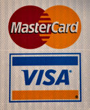 Visa and Master Card logo. Visa Inc.  and Master Card are two  global payments technology companys with the  principal business to process payments between the Stock Photography