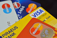 Visa, Master Card, Maestro Stock Photos
