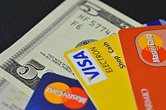 Visa, Master Card, Maestro Stock Photo