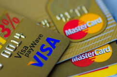 Visa and Master credit cards Stock Images