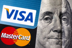 Visa and MasterCard with Benjamin Franklin portrait Royalty Free Stock Images