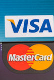 Visa and Mastercard close-up Stock Photography