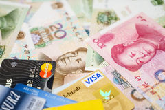 Visa and MasterCard credit cards and  Chinese Yuan Royalty Free Stock Images