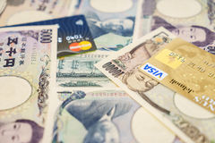Visa and MasterCard credit cards and Japanese yen Royalty Free Stock Photo