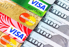 Visa and MasterCard, credit, debit and electronic with US dollar Stock Photography