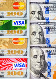 Visa and MasterCard, credit, debit and electronic with US dollar Royalty Free Stock Photo