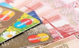 VISA and Mastercard Debit Card with russian rubles Stock Photos