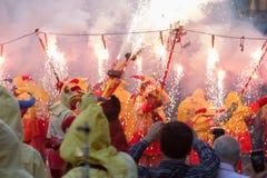 Visa med fyrverkerier på Badalona Royaltyfri Fotografi